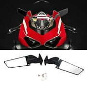 Cnc Black Adjustable Wing Fin Rearview Side Mirror For Ducati Panigale V2 V4
