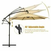 Modern 10 ' Solar Led Offset Umbrella W/40 Lights And Cross Base For Patio-tan