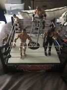 Wwe Raw Wrestling Ring Spring Loaded Ring Mattel 2011 With Action Figures Extras