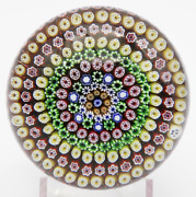 Charming Baccarat Vintage Showy Concentric Millefiori Cane Art Glass Paperweight