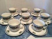 Johnson Bros. Victorian Christmas 8 Cups/saucers Made In Staffordshire England