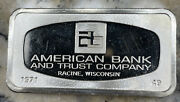 American Bank And Trust Racine Wi 2.08 Troy Oz. .925 Silver - Franklin Mint 1971