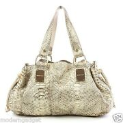 2900 Michel Kors Collection Rehearsal Gold Snakeskin Women Hand Bag Made Italy