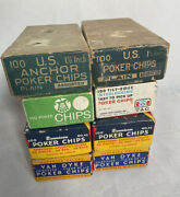Lot Of Vintage Clay And Plastic Poker Chips Anchor Dennison
