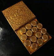 Collect Chinese Dynasty Bronze 24k Gold Gilt Dragon Board Game Chess Xiangqi Set