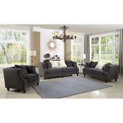 Marylou 2-piece Velvet Sofa And Loveseat Set In Gray