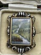 An Early 19th Century Victorian 15ct Gold And Enamel Swiss Scenic Brooch 17.4g