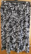 Black And Grey Mands Skirt Flared Long Size 16 Marks And Spencer Viscose Elasticated