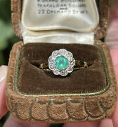 18ct Gold Emerald And Old Diamond Multiple Stone Ring Size N 4g Vintage Antique