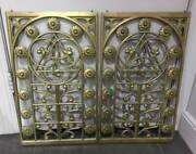 2 Antique Ornate Bronze Panels From Bank - Architectural