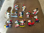 Lot Of 12 Peanuts Snoopy Woodstock Holiday Christmas Ornaments Pvc Figures Ufs