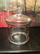 Vintage Hand Blown Glass Large Canister / Biscuit / Cookie Jar With Lid Rare 11