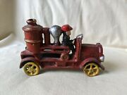 Vtg Cast Iron Toy Red Fire Truck Fire Engine Water Tank Truck 6.5