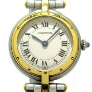 Auth Panthere Vendome Silver 18k Yellow Gold 17733 Womens Wrist Watch
