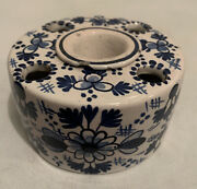 Antique Vintage French Blue And White Delft Faience Pottery Inkwell 1900s