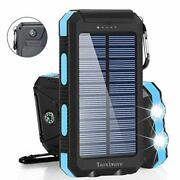 Solar Power Bank Charger For Phone Laptop Tablet Waterproof Shockproof Dual Usb