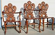 Incredible Heavily Carved American Dolphin Solid Oak Victorian Chair Set C1890s