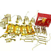 Brass Musical Band Instruments Christmas Tree Ornaments Taiwan Metal 20 Vintage