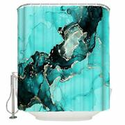 Turquoise Marble Ink Texture Shower Curtains For Bathroom Gold Cracked Line W...