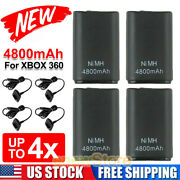 4xrechargeable Battery + Usb Charger Cable Pack For Xbox 360 Wireless Controller