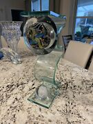 One-of-a-kind Adam Jablonski Glass Art Sculpture -and Titled 2 Worlds 16h X 8