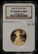 2004 G25 1/2 Oz American Eagle Gold Coin Proof -spot Free- Ngc Pf70 Uc - G1127