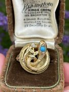 Rare 19th Century Victorian Gold Metal And Turquoise Snake Ring Size K 1/2 7.1g