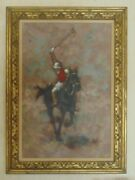 M. Maleter 1925- Spain Oil Painting Vintage Polo Player