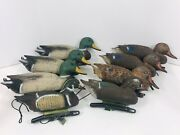 8 Hunting Hollow Pond Duck Decoys Vintage Sport Plast Made In Italy Carry Lite
