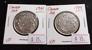 Canada 1941 And 1945 50 Cents 80 Silver Very Nice High Grade Silver Coin F35