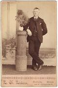 Handsome Young Man Cabinet Card Photo 1890's Duluth,mn Pink Border Gay Interest