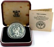 1975 Gambia Silver Proof 10 Dalasis Coin 10th Anniversary Independence Boxed Coa