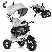 Durabl6-in-1 Childrenand039s Baby Stroller Tricycle Detachable Learning Toy Bike-gray
