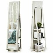 Durable 360° Rotatable White Armoire 2-in-1 Lockable Mirrored Jewelry Cabinet-