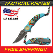 8.25 Indian Feather Tactical Spring Open Assisted Pocket Knife