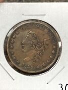 1837 Hard Times Token Liberty Head/not One Cent Medal Alignment