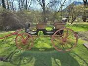 Vintage Early 1900s Wicker Phaeton Black / Red Horse Carriage Surrey