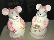 2- 1990 House Of Lloyd Mouse With Teddy Bear And Hearts Cookie Jars