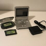 Silver Gameboy Advance Sp With 2 Games And Charger Ags-001 Tested And Working.