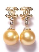 12-13mm Golden South Sea Pearl Earrings,diamonds,solid 14k Yellow Gold.