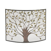 Rustic 1-panel Fireplace Screen With Tree And Leaf Cut-outs Farmhouse /rustic