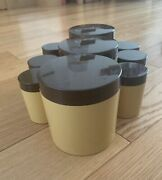 Antique Kitchen Containers Set Of 9 Unused Cream And Brown 1980andrsquos