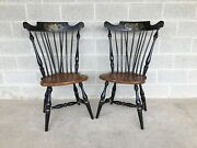 Ethan Allen Hitchcock Style Windsor Brace Back Side Chairs 14-6272 - A Pair