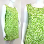 Vintage 60s 70s Green White Floral Psychedelic Sleeveless Empire Shift Dress 16