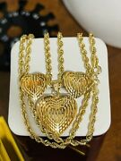 18k Fine 750 Saudi Uae Gold 20andrdquo Long Womenandrsquos Heart Necklace And Earring 8.9g 3mm