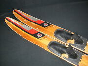 Vintage Cypress Gardens 67 Wood Water Skis Dick Pope Jr. Cabin Decor Man Cave