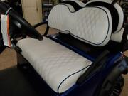 Custom Diamond Pleated Golf Cart Seat Coverswhite With Navy Blue Piping