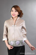 Chinese Traditional Brocade Silk Womenand039s Jacket Coat Size :m To 3xl