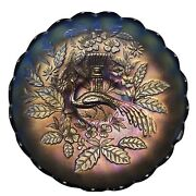 Antique Carnival Glass-northwood Sapphire Blue Stippled Peacock And Urn Ics Bowl
