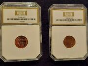Cameo Proof 1957 And 1958 Lincoln Wheat Cents. Pci Graded, Gold Holder.